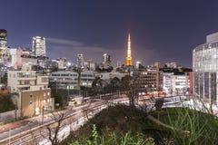 TOKYO JAPAN - 19 FEBRUARI 2015 - staden av Tokyo, Tokyo torn Arkivfoto