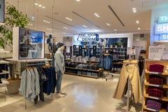 TOKYO, JAPAN - FEBRUARY 5, 2019: Tokyo Ginza Area GAP shop interior. Japan. royalty free stock photo
