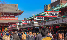 Tokyo, Japan - February 7, 2014:Nakamise street is the famous street market in Asakusa District stock photo