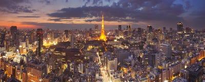 Tokyo Japan horisont med det Tokyo tornet på natten Arkivfoto