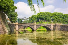 Tokyo, Japan at the Imperial Palace. Moat and Niju-bash Bridge stock photo