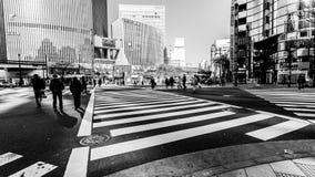 Tokyo, Japan - Januari 1, 2010: De voetgangersoversteekplaats straat centraal bij Ginza-District in Tokyo Ginza die tegen dag kru royalty-vrije stock foto's