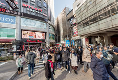 TOKYO, JAPAN - JANUARY 28, 2017: Akihabara District in Tokyo. Local Shop and People. Yodobashi Akiba Store Stock Images