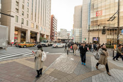 TOKYO, JAPAN - JANUARY 28, 2017: Akihabara District in Tokyo. Local Shops and People. Stock Photography