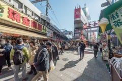 TOKYO, JAPAN - JANUARY 28, 2017: Ameyoko Shopping Street in Tokyo. Ameyoko is a busy market street along the Yamanote Line tracks Royalty Free Stock Photo