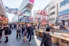 TOKYO, JAPAN - JANUARY 28, 2017: Ameyoko Shopping Street in Tokyo. Ameyoko is a busy market street along the Yamanote Line tracks Stock Photos