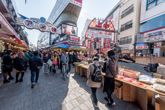 TOKYO, JAPAN - JANUARY 28, 2017: Ameyoko Shopping Street in Tokyo. Ameyoko is a busy market street along the Yamanote Line tracks Stock Photography