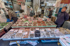 TOKYO, JAPAN - JANUARY 28, 2017: Ameyoko Shopping Street in Tokyo. Ameyoko is a busy market street along the Yamanote Line tracks Royalty Free Stock Images