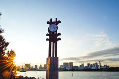 Tokyo, Japan. 13 January 2014. Clock in Odaiba seaside park, landmark in Odaiba. Stock Image