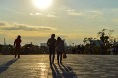 Tokyo, Japan. 13 January 2014. The couples walking in Odaiba. Royalty Free Stock Photos