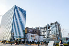 Tokyo, Japan. 13 January 2014. Fuji TV building and shopping mall, landmark in Odaiba. Royalty Free Stock Photography