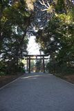 Guideboard at Meiji Jingu shrine west approach to a shrine. Tokyo,Japan-January 12, 2018: Guideboard at West approach of Meiji Jingu Shrine located in Shibuya royalty free stock image