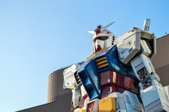 Tokyo, Japan. 13 January 2014. Gundam Statue Model Performances Outside Diver City Tokyo Plaza, landmark in Odaiba. Stock Photography