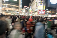 TOKYO, JAPAN - JANUARY 28, 2017: Shibuya District in Tokyo. Famous and busiest intersection in the world, Japan. Shibuya Crossing. Shibuya District in Tokyo Royalty Free Stock Photography