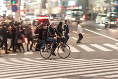 TOKYO, JAPAN - JANUARY 28, 2017: Shibuya District in Tokyo. Famous and busiest intersection in the world, Japan. Shibuya Crossing. Shibuya District in Tokyo Stock Photo