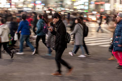 TOKYO, JAPAN - JANUARY 28, 2017: Shibuya District in Tokyo. Famous and busiest intersection in the world, Japan. Shibuya Crossing. Shibuya District in Tokyo Royalty Free Stock Photos