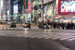TOKYO, JAPAN - JANUARY 28, 2017: Shibuya District in Tokyo. Famous and busiest intersection in the world, Japan. Shibuya Crossing. Shibuya District in Tokyo Royalty Free Stock Images