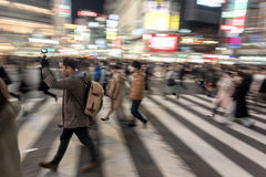 TOKYO, JAPAN - JANUARY 28, 2017: Shibuya District in Tokyo. Famous and busiest intersection in the world, Japan. Shibuya Crossing. Stock Photography