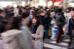 TOKYO, JAPAN - JANUARY 28, 2017: Shibuya District in Tokyo. Famous and busiest intersection in the world, Japan. Shibuya Crossing. Stock Photos