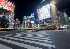 TOKYO, JAPAN - JANUARY 28, 2017: Shibuya District in Tokyo. Famous and busiest intersection in the world, Japan. Shibuya Crossing. Royalty Free Stock Photos