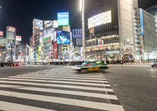 TOKYO, JAPAN - JANUARY 28, 2017: Shibuya District in Tokyo. Famous and busiest intersection in the world, Japan. Shibuya Crossing. Royalty Free Stock Image
