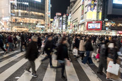 TOKYO, JAPAN - JANUARY 28, 2017: Shibuya District in Tokyo. Famous and busiest intersection in the world, Japan. Shibuya Crossing. Shibuya District in Tokyo Royalty Free Stock Photo