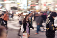 TOKYO, JAPAN - JANUARY 28, 2017: Shibuya District in Tokyo. Famous and busiest intersection in the world, Japan. Shibuya Crossing. Shibuya District in Tokyo Stock Photos