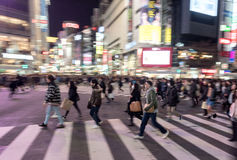 TOKYO, JAPAN - JANUARY 28, 2017: Shibuya District in Tokyo. Famous and busiest intersection in the world, Japan. Shibuya Crossing. Stock Images