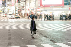 TOKYO, JAPAN - JANUARY 28, 2017: Shibuya District in Tokyo. Famous and busiest intersection in the world, Japan. Shibuya Crossing. Royalty Free Stock Photo