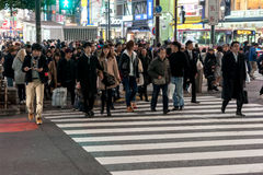 TOKYO, JAPAN - JANUARY 28, 2017: Shibuya District in Tokyo. Famous and busiest intersection in the world, Japan. Shibuya Crossing Royalty Free Stock Image
