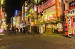 Tokyo, Japan - January 25, 2016: Street view of night Kabukicho district.Kabukicho is an entertainment and red-light district  Stock Photography