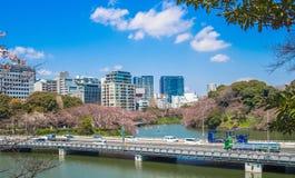 TOKYO JAPAN - JULI 02, 2017: Bil som korsar bron i en härlig solig dag med en ursnygg sikt av staden i Royaltyfria Bilder