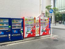 TOKYO , JAPAN - July 26, 2017 : Vending machines in Tokyo.Japan Royalty Free Stock Photos