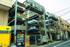 TOKYO, JAPAN -28 JUN 2017: An automated multi-story car parking system. Automatic multi-story car park systems enable to. Optimize space in crowded cities in Stock Photography