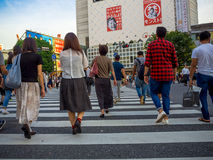 TOKYO, JAPAN -28 JUN 2017: Unidentified people Crossing the street through zebra in the Electrical Town of Akihabara, in Stock Photography