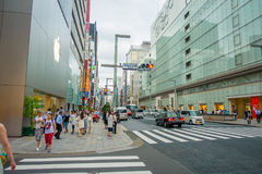 TOKYO, JAPAN -28 JUN 2017: Unidentified people Crossing the street through zebra in the Electrical Town of Ginza Royalty Free Stock Photos