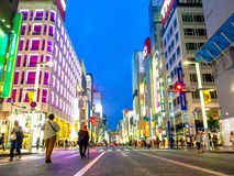 TOKYO, JAPAN -28 JUN 2017: Unidentified people walking in the street through zebra in the Electrical Town of Akihabara Stock Photos