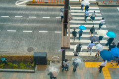 TOKYO, JAPAN JUNE 28 - 2017: Aerial view of unidentified people under umbrellas on zebra crossing street in Jimbocho Royalty Free Stock Images