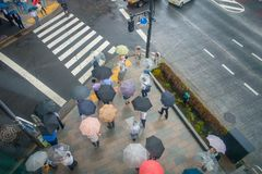 TOKYO, JAPAN JUNE 28 - 2017: Aerial view of unidentified people under umbrellas on zebra crossing street in Jimbocho Royalty Free Stock Photography