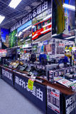 TOKYO, JAPAN JUNE 28 - 2017: Assorted cameras and lenses inside of Yodobashi camera department store. Yodobashi Camera. Is a chain store mainly selling Royalty Free Stock Photos