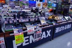 TOKYO, JAPAN JUNE 28 - 2017: Assorted cameras and lenses inside of Yodobashi camera department store. Yodobashi Camera Stock Photography
