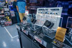 TOKYO, JAPAN JUNE 28 - 2017: Assorted cameras and lenses inside of Yodobashi camera department store. Yodobashi Camera Royalty Free Stock Images