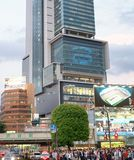 TOKYO, JAPAN - JUNE 1, 2016: Buildings and ads in Shibuya. Tokyo. Attracts 20 million tourists every year royalty free stock photography