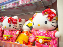 TOKYO, JAPAN JUNE 28 - 2017: Close up of assorted hello Kitty dolls in a toy center in Tokyo Royalty Free Stock Photos