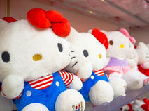 TOKYO, JAPAN JUNE 28 - 2017: Close up of assorted hello Kitty dolls in a toy center in Tokyo. Japan Royalty Free Stock Photo