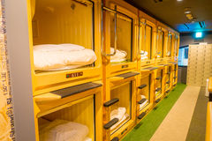 TOKYO, JAPAN JUNE 28 - 2017: Interior view of capsule hotel in city center. Capsule Hotels are less expensive structures Royalty Free Stock Images