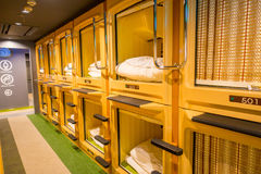 TOKYO, JAPAN JUNE 28 - 2017: Interior view of capsule hotel in city center. Capsule Hotels are less expensive structures Stock Photo