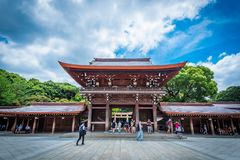 Tokyo, Japan - June 19, 2018 - Meiji Jingu Shrine historical buildings on June 19, 2018 in Tokyo, Japan. Meiji Shrine located in. Shibuya, Tokyo, is the Shinto royalty free stock images