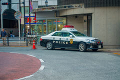 TOKYO, JAPAN JUNE 28 - 2017: Tokyo Metropolitan Police Department car parked in front of the central station of Tokyo. Japan Royalty Free Stock Images