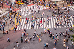 TOKYO, JAPAN JUNE 28 - 2017: Top view of crowd of people crossing in Shibuya street, one of the busiest crosswalks in. The world, in the Ginza District in Tokyo Royalty Free Stock Photos